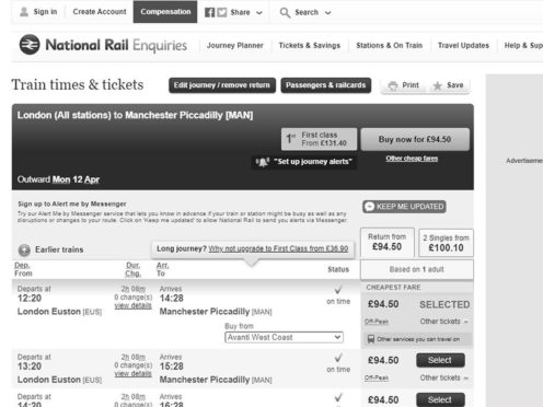 The decision to convert online train journey planners to greyscale as a mark of respect for the Duke of Edinburgh has been reversed following widespread criticism (National Rail Enquiries/PA)