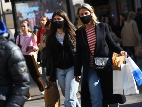 Total customer footfall on the day non-essential retail reopened in England was down 15% on two years ago, new figures show (Victoria Jones/PA)