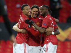 Edinson Cavani, centre, put Manchester United ahead on the night (Martin Rickett/PA)