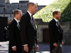 Peter Phillips, the Duke of Cambridge and the Duke of Sussex during the funeral of the Duke of Edinburgh (Alastair Grant/PA)
