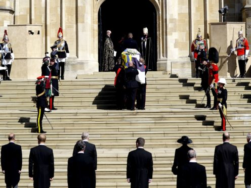 The Duke of Edinburgh's coffin is carried into St George's Chapel (PA)