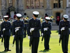 Members of the military observe a minute's silence ahead of the funeral of the Duke of Edinburgh (Chris Jackson/PA)