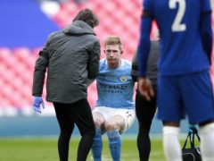 Manchester City's Kevin De Bruyne suffered a foot injury against Chelsea (Ian Walton/PA)