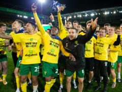 Norwich celebrate promotion back to the Premier League (Matthew Usher/Norwich/POOL).