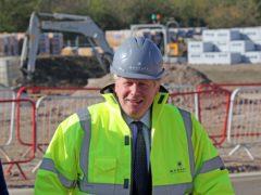 Boris Johnson during the visit to Gloucestershire (Jonathan Buckmaster/Daily Express/PA)