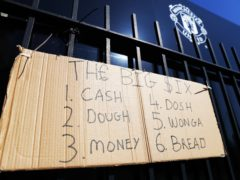 A sign protesting against the European Super League outside Old Trafford (Tim Markland/PA).
