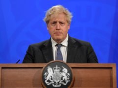 Prime Minister Boris Johnson during the latest media briefing at Downing Street (Toby Melville/PA)