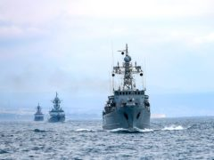 Russian navy ships during navy drills in the Black Sea (Russian Defence Ministry Press Service via AP)