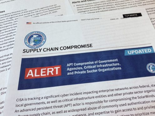 An alert from the Department of Homeland Security's Cybersecurity and Infrastructure Security Agency on Tuesday detailing the hacking (Jon Elswick/AP)