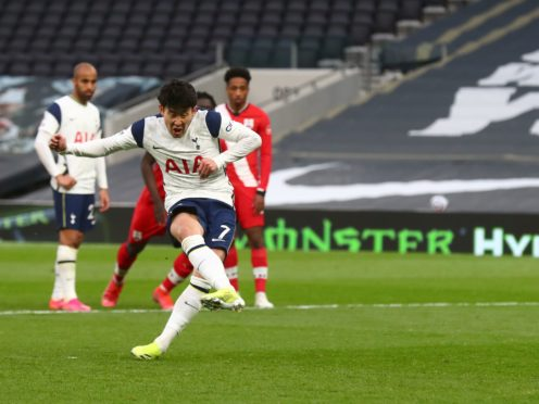 Heung-min Son scores from the spot (Clive Rose/PA)