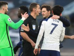 Ryan Mason with Heung-Min Son (right) and Hugo Lloris (left) at the end of the game (Adam Davy/PA)