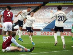 Manchester City's Phil Foden celebrates his goal in the win at Aston Villa (Carl Recine/PA)