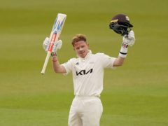 Surrey's England batsman Ollie Pope celebrates his century against Hampshire at the Oval (Adam Davy/PA)