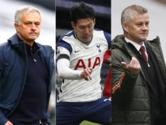 Jose Mourinho, left, was fuming with Ole Gunnar Solskjaer's comments about Son Heung-min, centre(Clive Rose/Matthew Childs/PA)