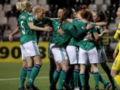 NI women celebrate during Tuesday's match against Ukraine in Belfast (Irish FA)