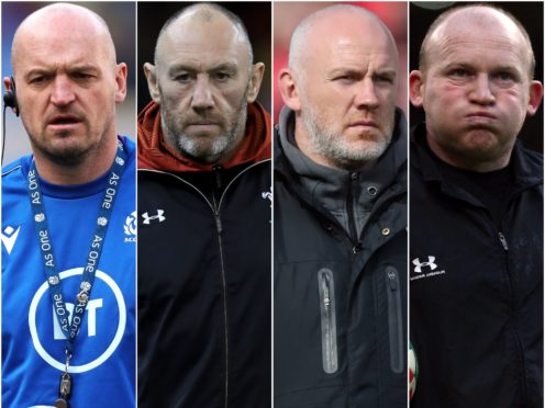 Gregor Townsend, Robin McBryde, Steve Tandy and Neil Jenkins (Andrew Matthews/Mike Egerton/Niall Carson and David Davies/PA)