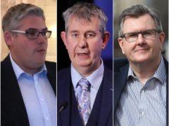 Gavin Robinson, Edwin Poots and Sir Jeffrey Donaldson (Michael McHugh/Kelvin Boyes/Press Eye/Niall Carson/PA)