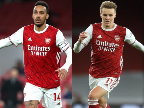 Arsenal will make late decisions on the fitness of Pierre-Emerick Aubameyang and Martin Odegaard (Julian Finney/Adam Davy/PA)