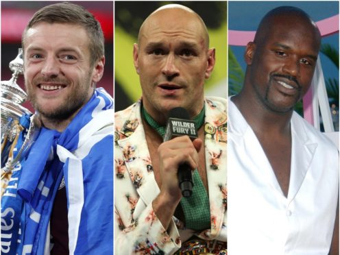 Jamie Vardy, Tyson Fury and Shaquille O'Neal (Matthew Childs/Bradley Collyer/Anthony Harvey/PA)