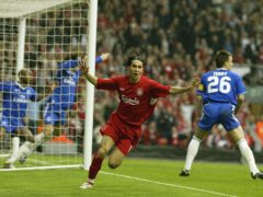 Luis Garcia celebrates his disputed goal against Chelsea (Phil Noble/PA)