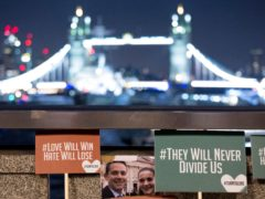 Tributes to Jack Merritt and Saskia Jones on London Bridge (Rick Findler/PA)