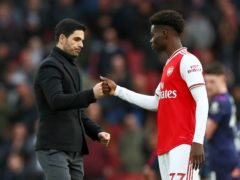 Bukayo Saka, right, could make his 50th appearance of the season for club and country this weekend (Bradley Collyer/PA)