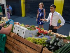 The Chancellor of the Exchequer Rishi Sunak visiting Tachbrook Market in Westminster (Simon Walker/PA)