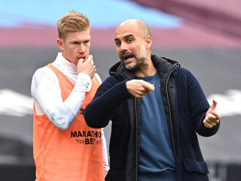 """Pep Guardiola said Kevin De Bruyne is """"feeling good"""" after returning to training (Justin Tallis/PA)"""