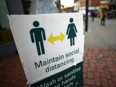 A social distancing sign in Derby (Tim Goode/PA)