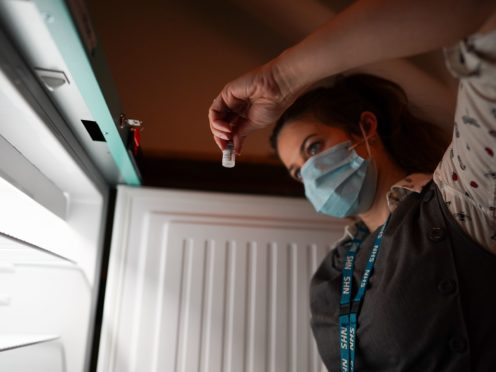 The Pfizer/BioNTech coronavirus vaccine can be stored at fridge temperature for much longer than previously recommended, according to the European Medicines Agency (Ian Forsyth/PA)