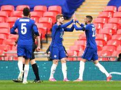 Chelsea celebrate the winner in the FA Cup semi-final (Ben Stansall/PA)