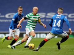Celtic captain Scott Brown, centre, played his 44th and final Old Firm clash on Sunday (Jane Barlow/PA)