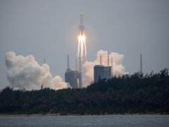 A Long March 5B rocket carrying a module for a Chinese space station lifts off from the Wenchang Spacecraft Launch Site in Wenchang in southern China's Hainan Province in April (Chinatopix via AP)