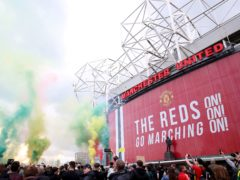 Fans protest outside Old Trafford (Barrington Coombs/PA)