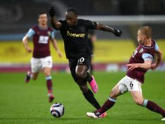 Michail Antonio (centre) inspired West Ham to a vital win at Burnley (Gareth Copley/PA)