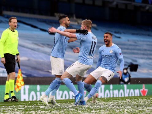 Manchester City are celebrating reaching the Champions League final for the first time (Martin Rickett/PA)