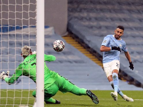 Riyad Mahrez scored twice as Manchester City sank PSG (Martin Rickett/PA)