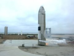 The Starship test vehicle sits on the ground after returning from a flight test in Boca Chica, Texas (SpaceX/AP)