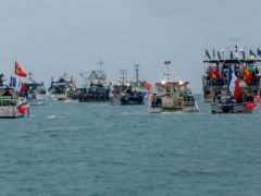 French fishing vessels gathered outside the harbour at St Helier, Jersey on Thursday morning (Gary Grimshaw/Bailiwick Express/PA)