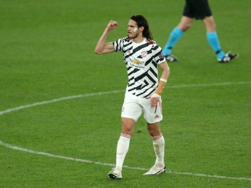 Edinson Cavani scored twice as Manchester United secured passage to the Europa League final (Marco Iacobucci/PA)
