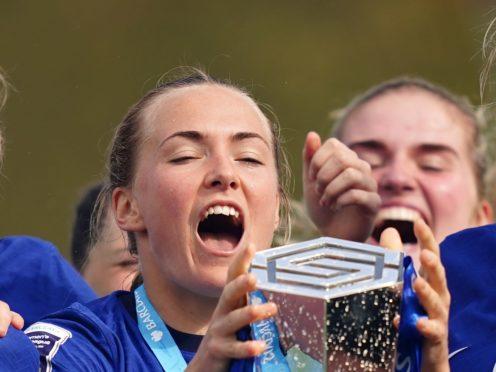 Magda Eriksson celebrates with the WSL trophy on Sunday (John Walton/PA)