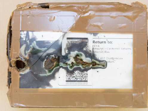 One of the packages with improvised explosive devices sent by through the post (Met Police/PA)