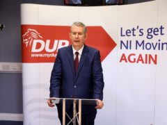 DUP Leader Designate Edwin Poots inside DUP Headquarters in Belfast after was elected as the new leader of the Democratic Unionist Party (Handout/PA)