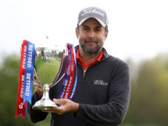 England's Richard Bland celebrates winning the Betfred British Masters at The Belfry (Tim Goode/PA)