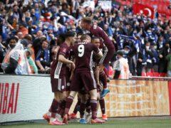 Leicester celebrate Youri Tielemans' winner (Matt Childs/PA)