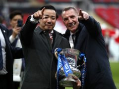 Brendan Rodgers (right) celebrates with Leicester chairman Aiyawatt Srivaddhanaprabha (left) after the FA Cup final win over Chelsea (Matthew Childs/PA).
