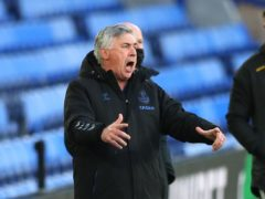 Everton manager Carlo Ancelotti gestures during the Premier League match at Goodison Park (Peter Byrne/PA)