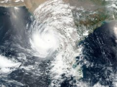 A cyclone approaching western India (Nasa/AP)