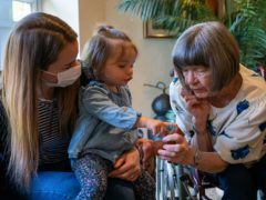 Pat Tinner, (right) with her granddaughter Kimberley Skelton and great-granddaughter Mya (Aaron Chown/PA)