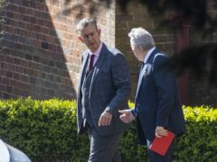 DUP leader designate Edwin Poots with party colleague Ian Paisley leaving Stormont House in Belfast after a meeting with Secretary of State for Northern Ireland Brandon Lewis (PA)